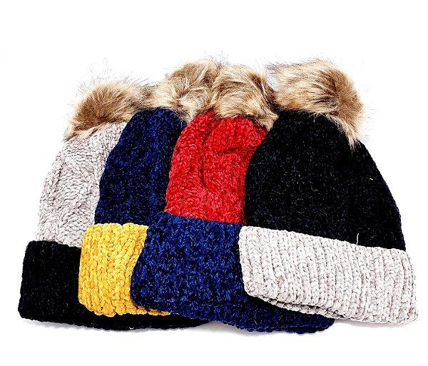 Touca De Lã Com Pompom Adulto - Colorido