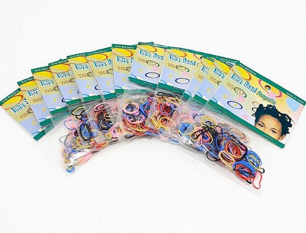 Embalagem Com 12 Pacotes De Elástico Para Cabelo De Silicone - Colorido