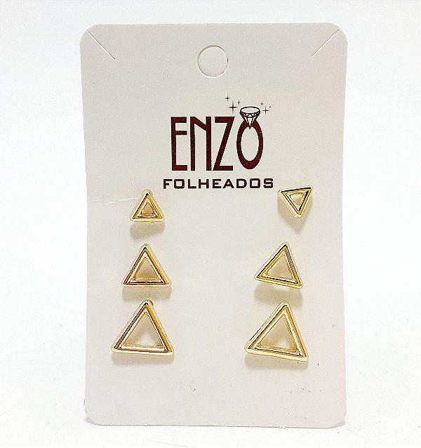 Cartela Com 3 Pares De Brincos Triângulos Vazados Dourados - REF: PT0453