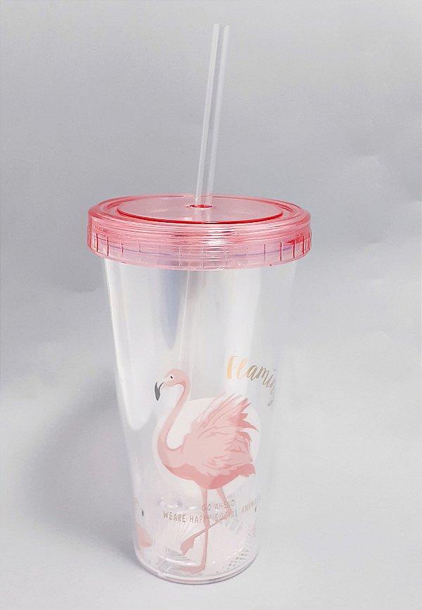 Copo De Acrílico Efeito 3D Com Tampa E Canudo 400ml - Temático Flamingo