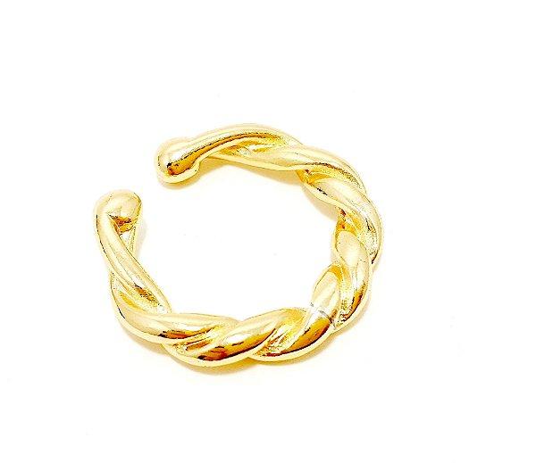 Piercing Fake Argolinha Grande Trançada - Dourado