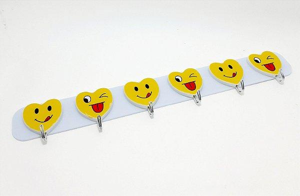 Cabideiro Com 6 Ganchos Para Adesivar De Plástico - Temático Expressões