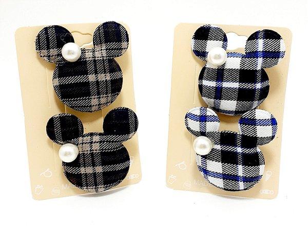Cartela Com 2 Presilhas Bico De Pato Xadrez Para Cabelo - Minnie