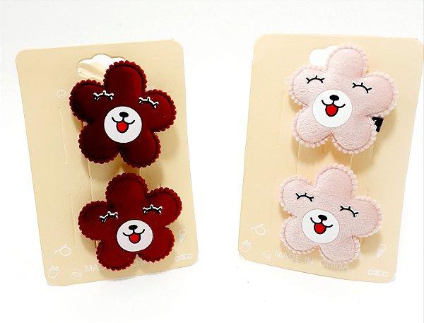 Cartela Com 2 Presilhas Bico De Pato De Veludo Para Cabelo - Florzinha