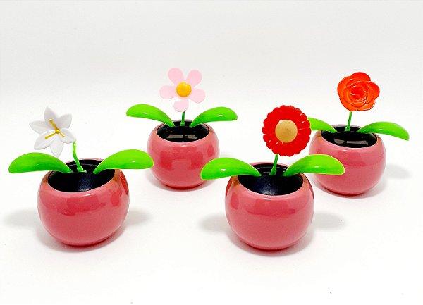 Enfeite Vasinho Com Flor Luz Solar - Rosa
