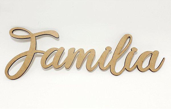 Aplique De Parede MDF Cru Temático Escrita - Família