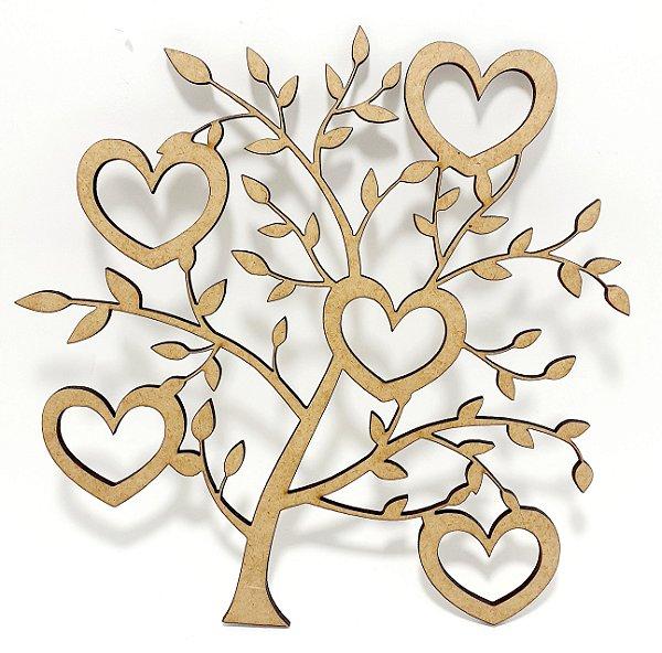 Aplique De Parede MDF Cru - Árvore Coração