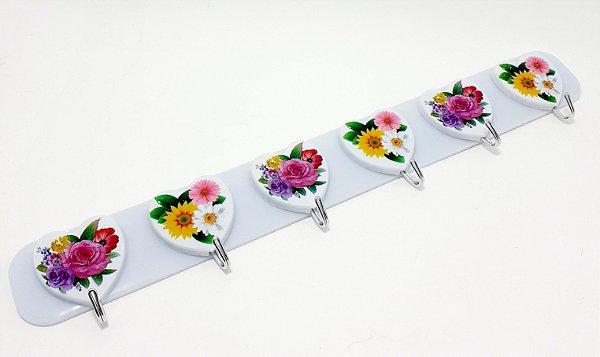 Cabideiro Com 6 Ganchos Para Adesivar De Plástico - Coração Flores