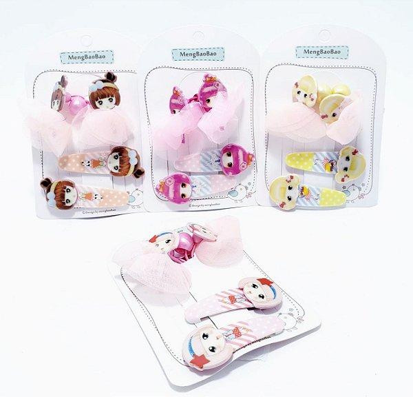 Kit Com 2 Elástico E 2 Presilhas Tic Tac Para Cabelo - Infantil