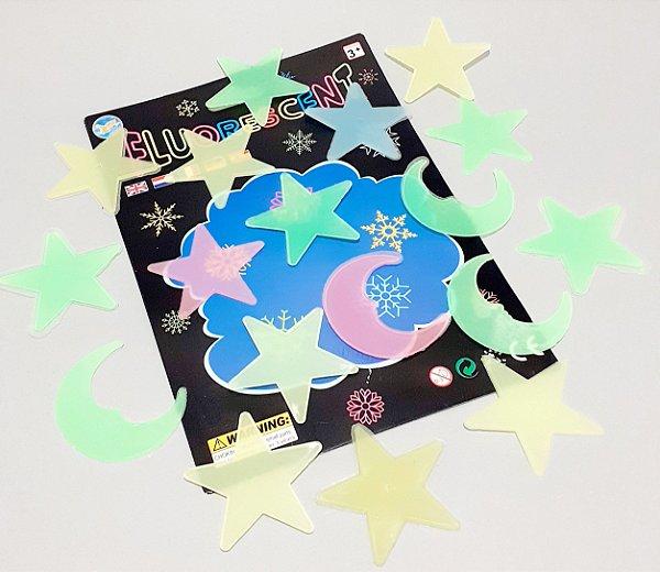 Adesivos Decorativos Florescentes Temático Estrelas - Shock