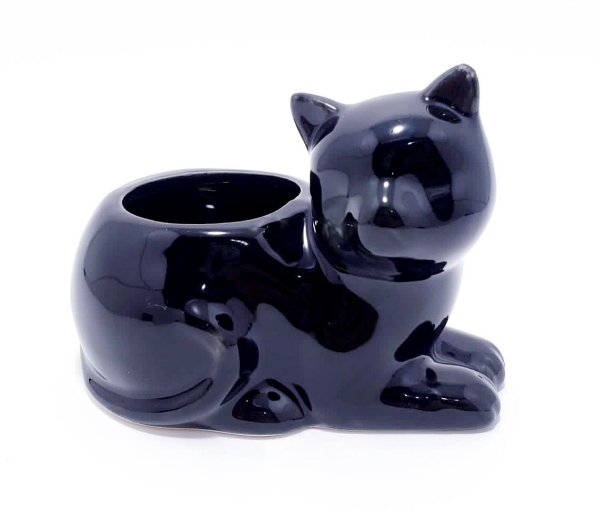 Enfeite Decorativo Gato Deitado - Preto