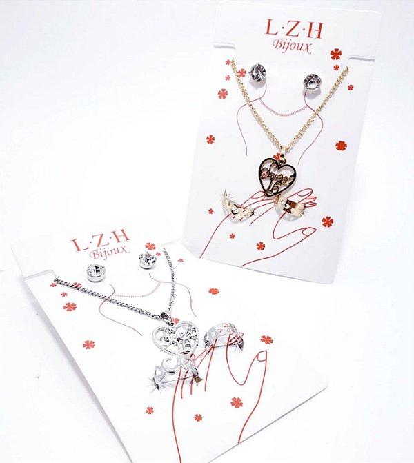 Kit Bijuteria Com 4 Peças - Coração
