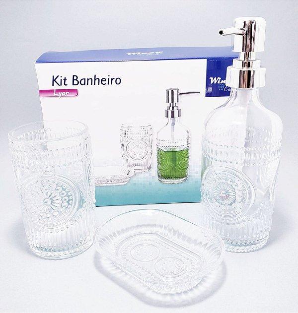 Kit Banheiro II Com 3 Peças De Vidro Transparente - Detalhada