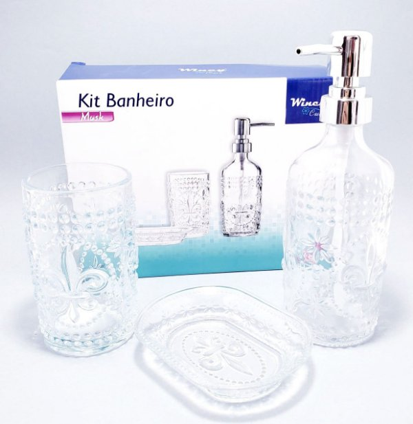 Kit Banheiro Com 3 Peças De Vidro Transparente - Detalhada