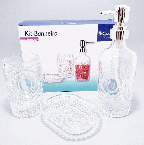 Kit Banheiro I Com 3 Peças De Vidro Transparente - Detalhada