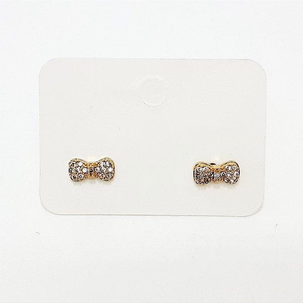 Brinco Lacinho Pequeno Dourado - REF: PT0234