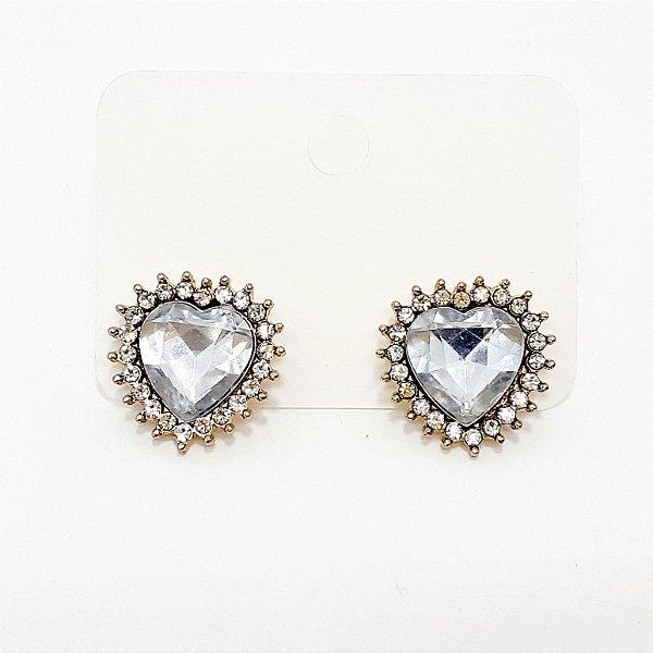 Brinco De Coração Com Pedra E Strass - REF: PT0257