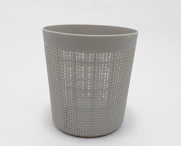 Cestinha Organizadora Redonda Com Furinhos De Plástico Cinza