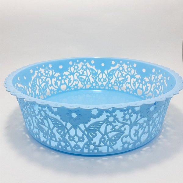 Cesta Plástica Redonda Com Rendada  Decorativa Azul - Clink