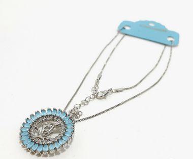Colar De Prata Com Pingente De Pedra  Azul Do Signo do Zodíaco - Virgem