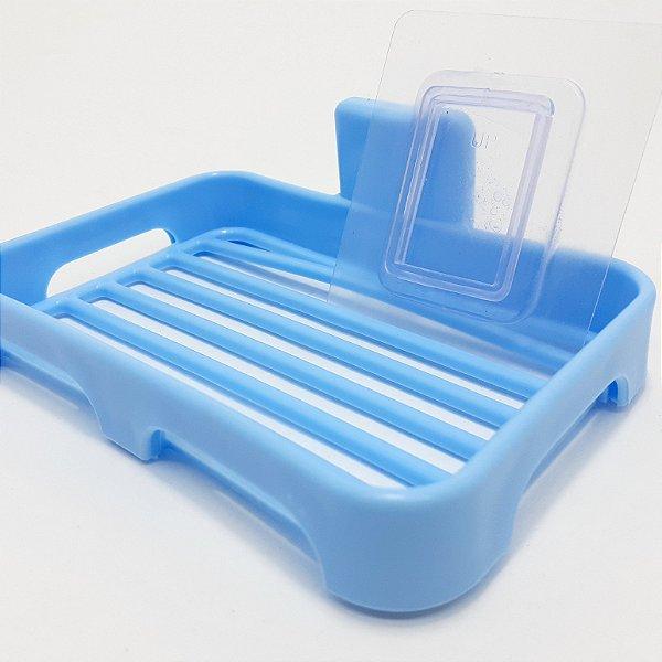 Saboneteira de Parede Em Plástico Azul Com Fita Autocolante
