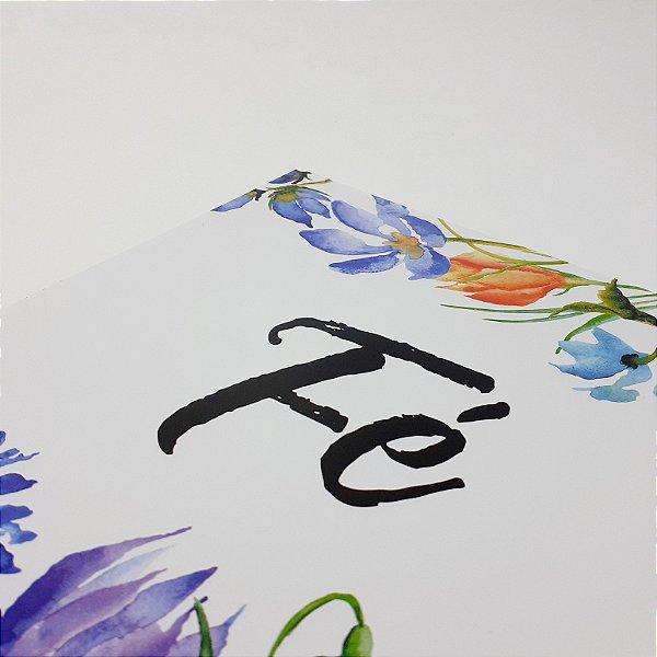"""Placa Decorativa Com Frase Motivacional """"Fé"""""""