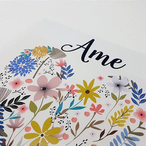"""Placa Decorativa Floral Motivacional Com Frase """"Ame"""""""