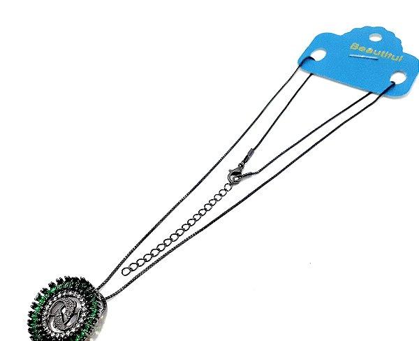 Colar De Ródio Com Pingente De Pedra Verde Do Signo do Zodíaco - Peixes