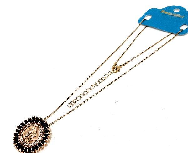 Colar Dourado Com Pingente De Pedra Preta Do Signo do Zodíaco - Virgem