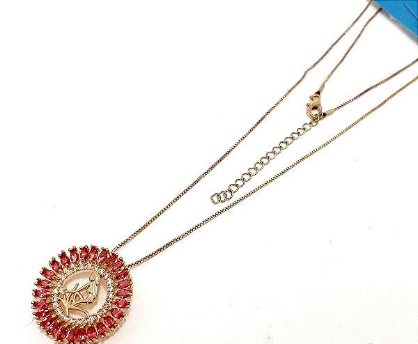 Colar Dourado Com Pingente De Pedra Rosa Do Signo do Zodíaco -  Virgem