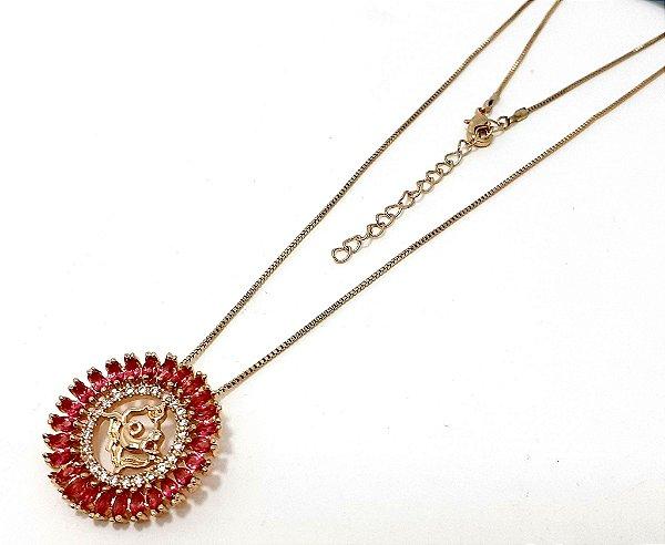 Colar Dourado Com Pingente De Pedra Rosa Do Signo do Zodíaco - Aquário