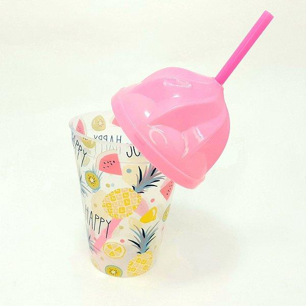 Copo De Plástico Com Tampa E Canudo Tema Frutas -  450ml