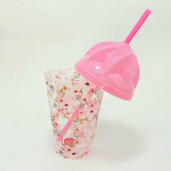 Copo De Plástico Com Tampa E Canudo Branco Tema Verão Flamingos-  450ml