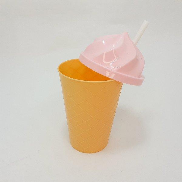 Copo De Plástico Com Tampa E Canudo  Rosa Claro Tema Sorvete -  450ml