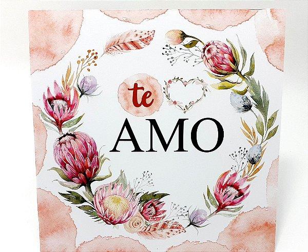 """Placa Decorativa Floral Motivacional Com Frase """"Te Amo"""""""