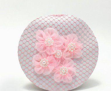 Rede Para Coque Bailarina Rosa Com Flores Em Tule E Perolas