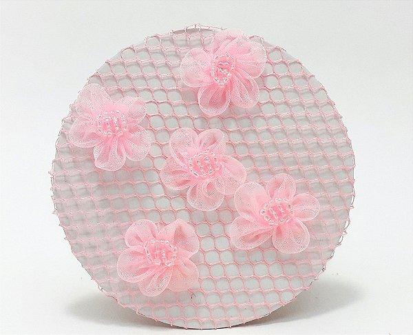 Rede Para Coque Bailarina Rosa Com Flores Em Tule