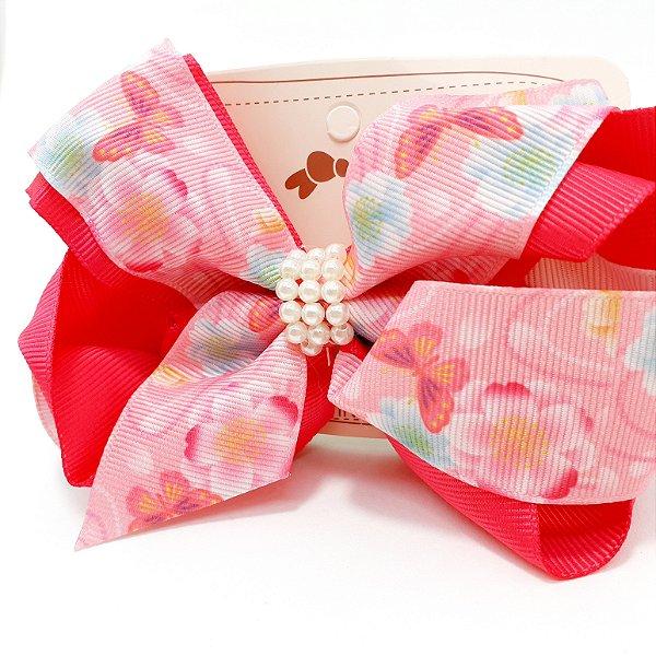 Presilha De Cabelo Com Laço Pink Grande Florido