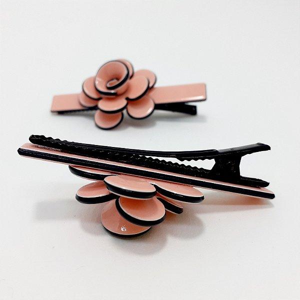 2 Presilhas Para Cabelo Em Vinil - Flower Rosa