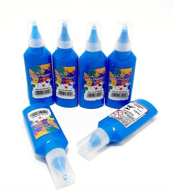6 Tubos De Cola Colorida 21g  Azul - Win Paper