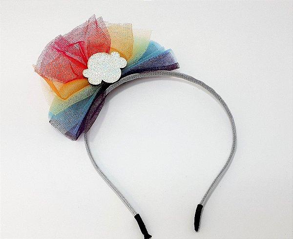 Tiara Infantil Com Laço De Tule Colorido
