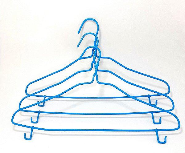 Conjunto Com 3 Cabides Azul De Metal Com Ganchos - Wincy
