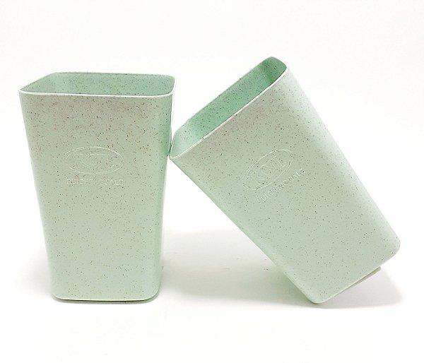 2 Copos De Plástico Organizador Multiuso Quadrado - Verde