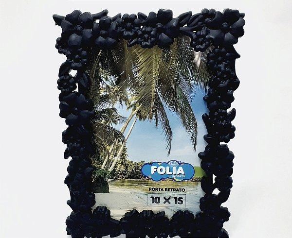 Porta Retrato De Plástico Com Moldura Floral Para Mesa - Preto