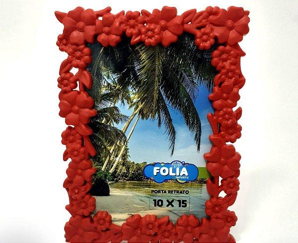 Porta Retrato De Plástico Com Moldura Floral Para Mesa - Vermelho