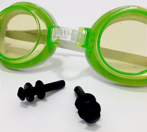 Óculos de Natação Infantil Summer Fun com Protetores Auriculares Verde - Wellmix