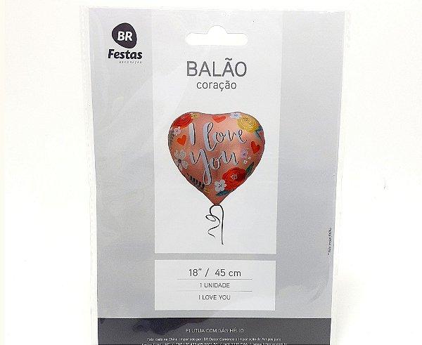 """Balão Metalizado Coração - Temático Frase (18"""" - 45cm)"""