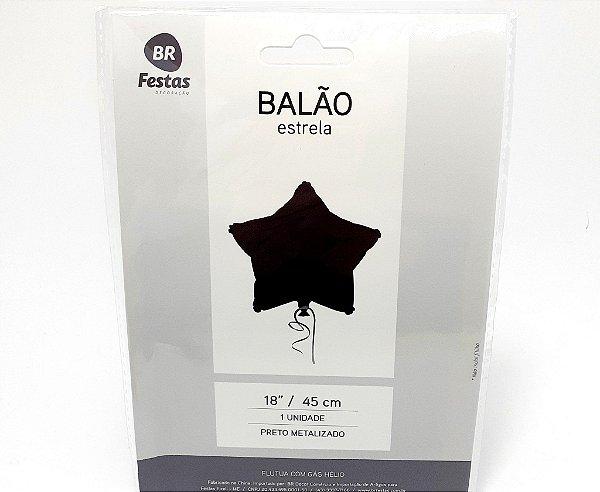 """Balão Metalizado Estrela - Preto (18"""" - 45cm)"""