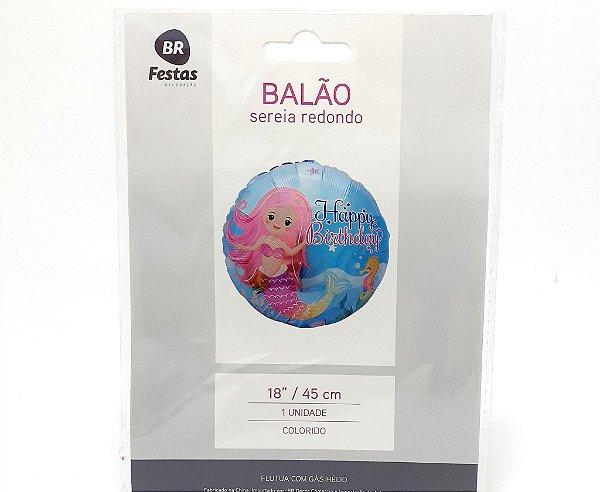 """Balão Metalizado Redondo - Temático Sereia (18"""" - 45cm)"""