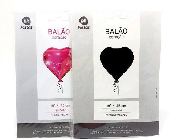 """Balão Metalizado Coração (18"""" - 45cm)"""